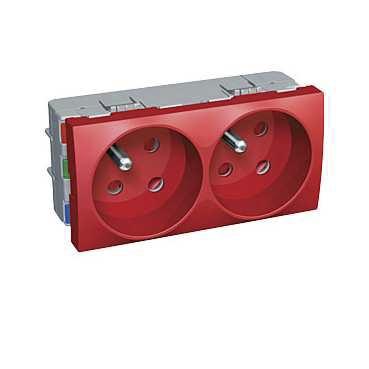 Prise de courant double à détrompage, 45°, 2P+T Altira, rouge Schneider Electric