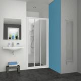 Porte Pyra accès de face coulissante profil blanc verre transparent