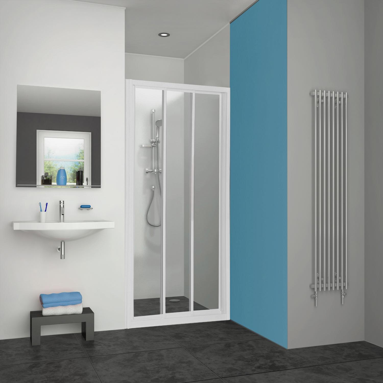 Porte Pyra accès de face coulissante profil blanc verre transparent Aquance