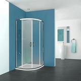 Porte de douche Pyra coulissante 1/4 rond accès d'angle profil Silver verre transparent