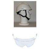 Casque de chantier Kara blanc visière courte avec lunettes intégrées