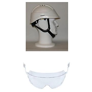 Casque de chantier Kara blanc visière courte avec lunettes intégrées Auboueix