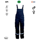 Cotte à bretelles bleu foncé avec bandes rétro-réfléchissantes B0004333 EDF