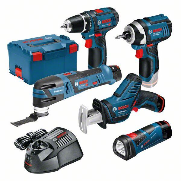 Pack 5 outils sans fil 12V GSR + GSA + GDR + GOP + GLI Bosch Professional