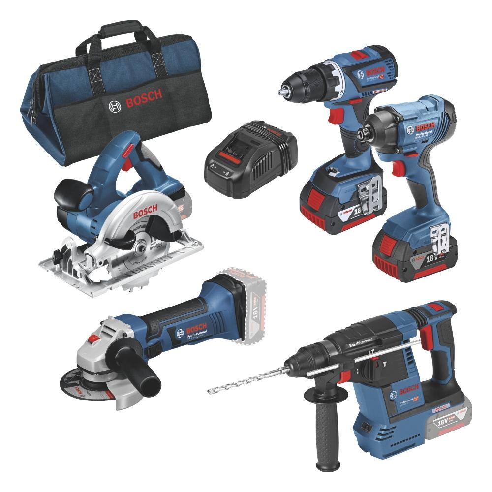 Pack 5 outils sans fil 18V GDR18V-160 GBH18V-26 GWS18-125V-LI GKS18V-LI 3 GAS18V-1 Bosch Professional