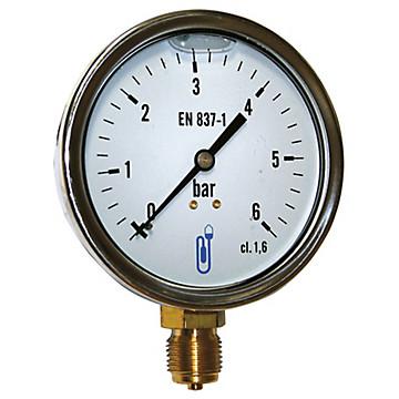 Manomètre boîtier Inox - Glycérine - Raccord vertical 1/2