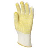Gants de travail coton tricotés avec picots jaunes 1 face