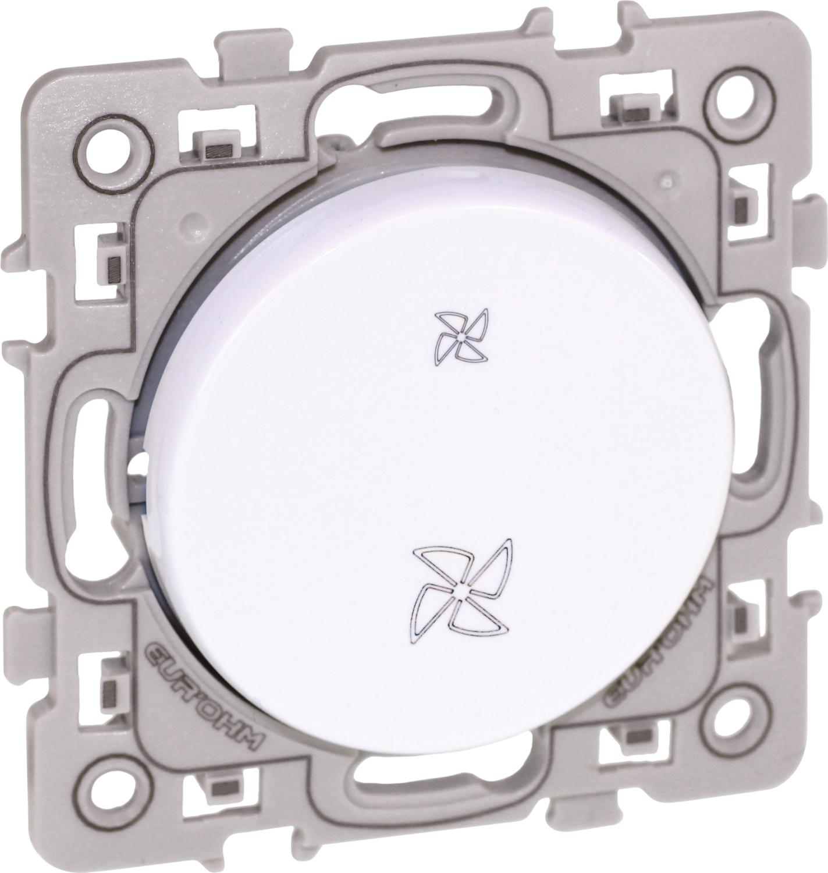 Interrupteur VMC 2 positions Square Blanc Eur'Ohm