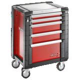 Servantes JET+ 5 tiroirs - 3 modules par tiroir - Coloris rouge