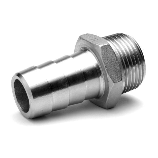 Adapteur hexagonal cannelé mâle gaz BSP inox 316 Raccorderie Metalliche