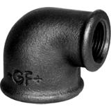Coude petit rayon 90° FF réduit fonte noir - Fig 90R