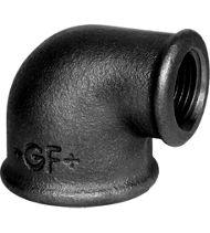 Coude petit rayon 90° FF réduit fonte noir - Fig.90R