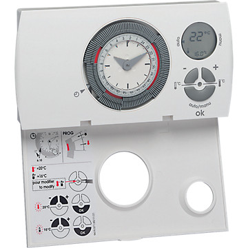 Thermostat d'ambiance programmable hebdomadaire Hager