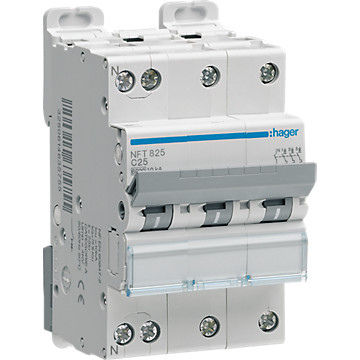 Disjoncteur 3P+N - Courbe C - 6-10kA Hager