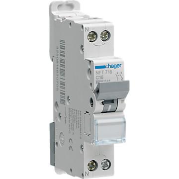 Disjoncteur Ph+N - Courbe D - 6-10kA Hager