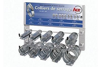 Colliers à vis x100 sur présentoir