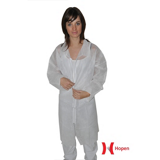 Blouse jetable polypropylène blanche sans poche