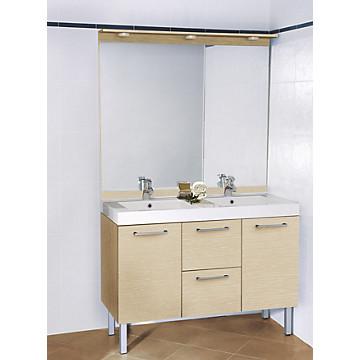 Meuble Ecla 120 cm 2 portes - 2 tiroirs avec miroir intégral haut MB Expert