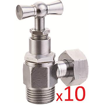 Lot de 10 robinets de chasse - équerre 3/8 brut à presse étoupe