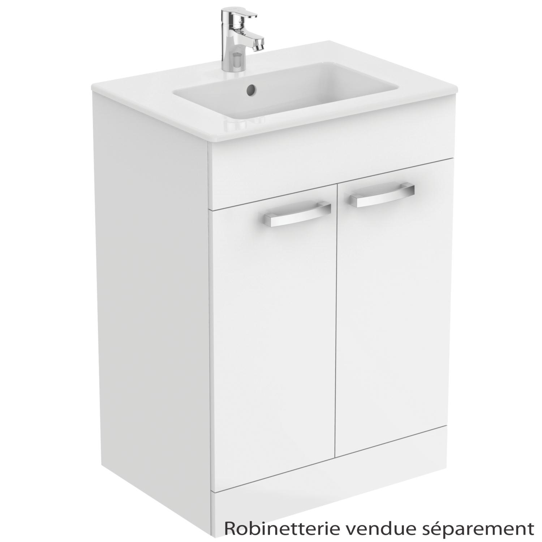 Meuble sous-plan et plan vasque Ulysse à poser 2 portes - 60 cm Porcher