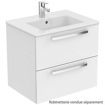 Meuble sous-plan et plan vasque Ulysse suspendu 2 tiroirs - 60 cm Porcher