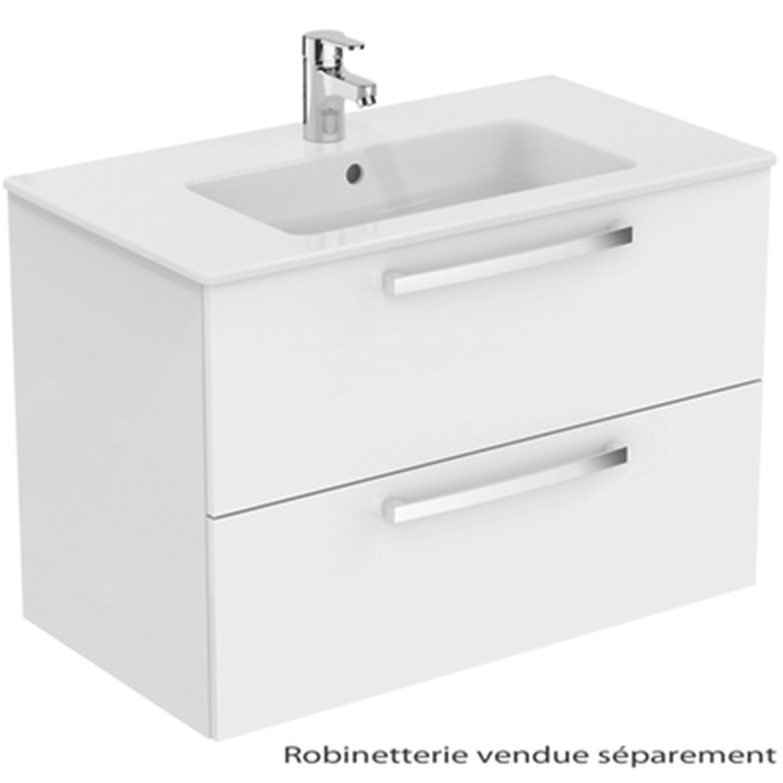 Meuble sous-plan et plan vasque Ulysse suspendu 2 tiroirs - 80 cm Porcher
