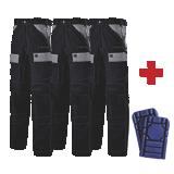 Lot de 3 pantalons de travail Ruler noir/gris + 1 paire de genouillères Go