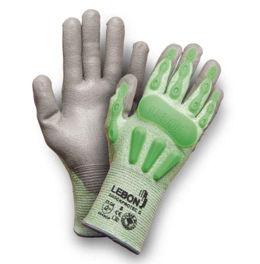Gants Shockprotec/D - Gris/Vert Lebon Protection