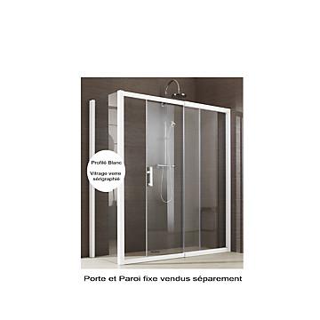 Porte Jazz Extensible coulissante accès de face profil blanc verre sérigraphié Leda