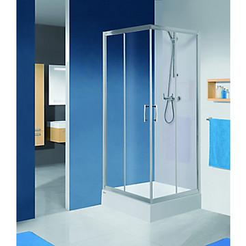 Porte Tyxo coulissante accès d'angle profil argent brillant verre transparent Leda