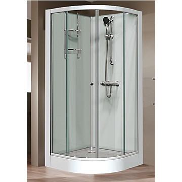 Cabine Iziglass 1/4 rond en angle porte coulissante verre transparent Leda