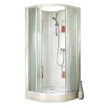 Cabine Izibox Confort 1/4 de rond porte d'angle coulissante verre granité Leda