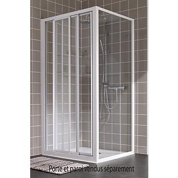 Porte Atout 2 coulissante accès de face profil blanc verre granité Leda