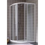 Porte Atout 2 1/4 rond coulissant profil blanc verre granité