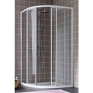Porte Atout 2 1/4 rond coulissant profil blanc verre granité Leda