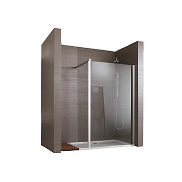 Paroi Jazz Amplitude solution ouverte pour montage seul ou avec mobile profil argent mat verre transparent Leda