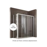 Porte Jazz Extensible coulissante accès de face profil blanc verre transparent