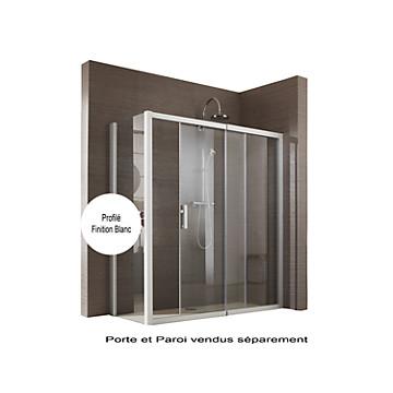 Porte Jazz Extensible coulissante accès de face profil blanc verre transparent Leda
