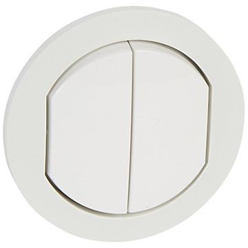 Enjoliveur double Céliane - IP 44 - pour 2 réf. 670 01/31 - blanc Legrand