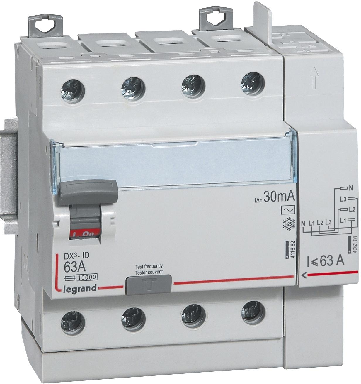 Interrupteur différentiel 4P DX³ Arrivée haut/départ haut Legrand
