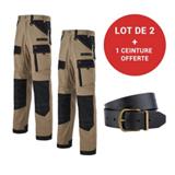 Lot de 2 pantalons de travail Ruler beige/noir + 1 ceinture Yuma