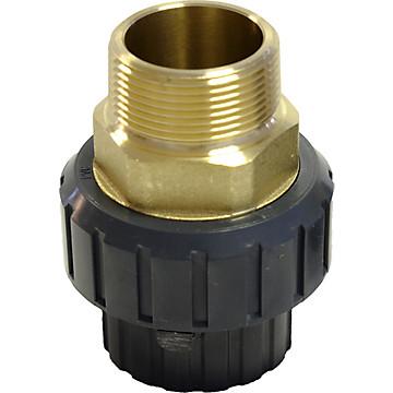 Union 3 pièces PVC pression fileté mâle laiton / à coller Aliaxis