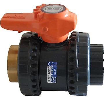 Vanne BS PVC pression FF à coller / taraudée laiton - type VXEIFOV Aliaxis