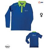 Polo FEMME manches longues coton bleu/vert 030746 B01ZZ