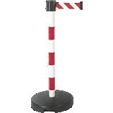 Poteau PVC avec sangle étirable rouge/blanc