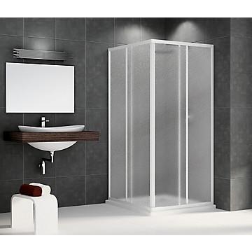 Porte Riviera A coulissante accès d'angle profil blanc verre granité Novellini
