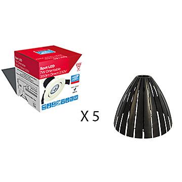 Lot de 5 spots LED 3000 K + 5 protège-spots pour laine soufflée MB Expert