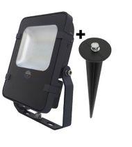 Projecteur LED noir + piquet de terre