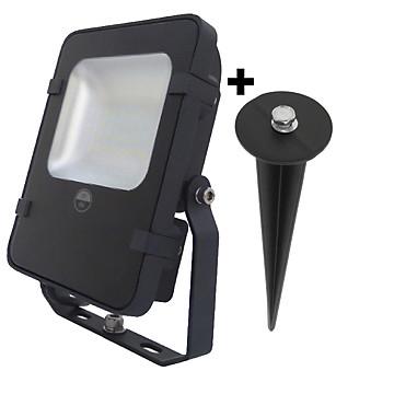 Projecteur LED noir + piquet de terre MB Expert