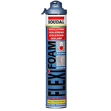 Mousse polyuréthane 750 mL FLEXIFOAM CLICK & FIX Soudal